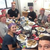 The Elms team eating Christmas dinner